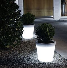 Illuminated planter pots