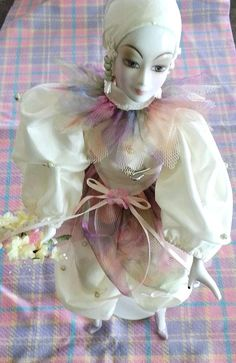 Vintage Harlequin Doll - Porcelian- Clown Doll - Porcelian Hands - Feet - Head - Unique via Etsy