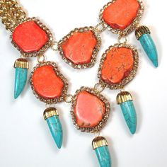 Statement necklace Orange Coral Turquoise Blue by EzzaExclusive, $210.00