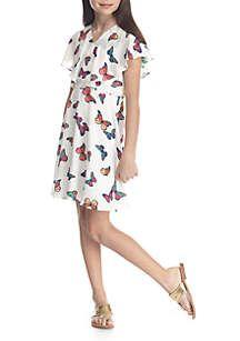 fb41f2686675a2 Sequin Hearts Girls Butterfly Print Dress Girls 7-16