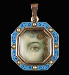 """""""Look of Love: Eye Miniatures from the Skier Collection"""". Birmingham Museum of Art, Alabama    One of the oddest and most extraordinary forms of jewelry to emerge in the late 18th century was the eye miniature. A relatively little-studied subject, these hand-painted keepsakes—brooches, rings, lockets—featuring a depiction of a single human eye (usually a lover's) were given as tokens of affection or remembrance."""