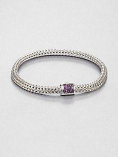 John Hardy - Sterling Silver Woven Braid Bracelet/Amethyst