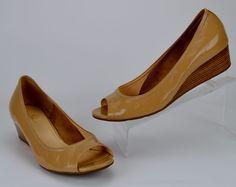 Cole Haan Air Tali Women's Size 9 M Nude Patent Leather Peep Toe Wedge Heels #ColeHaan #OpenToeWedge #Casual
