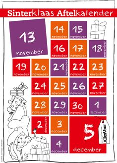 Kan jij ook niet wachten op 5 december?! Print deze kalender uit en je kids kunnen zelf zien wanneer 't heerlijk avondje nou ook alweer is! #AllesVoor #Sinterklaas #Sint #Aftellen #Pakjesavond #Kalender #Kids