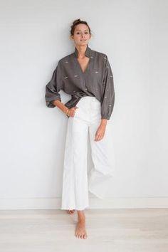 cotton handwoven gray blouse