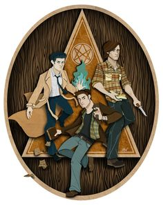 Castiel, Sam and Dean Winchester. This is cool, but Dean looks like Hades from Hercules.