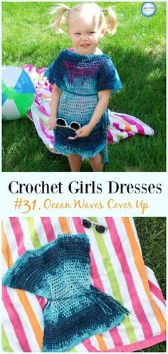 The Ocean Waves Cover Up is a free crochet pattern designed to have solid stitching at the shoulders to protect that sensitive area from sun and an open-mesh throughout the rest of the piece for fast drying! It's perfect for a beach day or pool party. Crochet Toddler, Crochet Girls, Crochet Bebe, Crochet For Kids, Easy Crochet, Modern Crochet, Toddler Beach, Beach Kids, Crochet Gratis