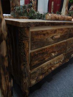 Amish Log Furniture Aspen 6 Drawer Dresser