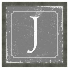 Showcasing a block-print monogram against a weathered slate-hued background, this typographic art print offers personalized style for your walls. Made in the...