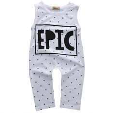 >> Click to Buy << 2016 Newborn Baby Girls Boys Loose Fashion Cotton White Polka Dot Sleeveless Letter Jumpsuit  #Affiliate