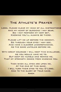 The Athlete's Prayer...will definitely teach my children this!!!!