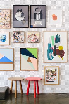 cool way to set up an easily changing gallery wall -- painted peg board!