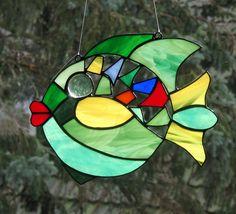Fensterbild Fisch Tiffany Technik Glas Baddeko Sonnenfänger Fensterschmuck Bild