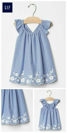"Embroidered flutter dress ""Discover recipes, home ideas, style inspiration and other ideas to try. Toddler Dress, Toddler Outfits, Baby Dress, Kids Outfits, Infant Toddler, Little Dresses, Little Girl Dresses, Girls Dresses, Baby Frocks Designs"