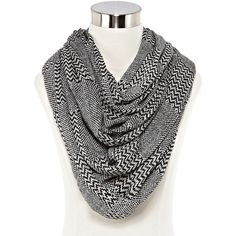 Chevron Block Infinity Scarf ($17) ❤ liked on Polyvore featuring accessories, scarves, round scarf, chevron scarves, tube scarves, circle scarves and print scarves