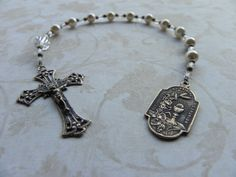 Girl's First Communion Pocket Rosary in White by FaithBeads, $32.00