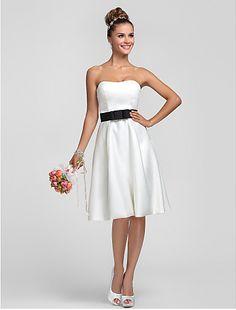 Bridesmaid Dress Knee-length Satin Sheath/Column Strapless Dress - http://www.aliexpress.com/item/Bridesmaid-Dress-Knee-length-Satin-Sheath-Column-Strapless-Dress/32322906419.html