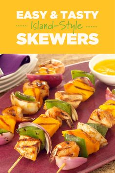 There's no limit to the number of fruit and veggie combinations you can skewer up. Go Island-style tonight with teriyaki sauce, cubes of mango, and your favorite protein, courtesy of the Mango Board. Mango Recipes, Teriyaki Sauce, Skewers, Fruits And Veggies, Grilling Recipes, Chutney, Fresh Rolls, Food Dishes, Barbecue