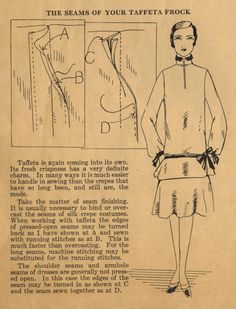 The Midvale Cottage Post: Home Sewing Tips from the 1920s - Sewing a Taffeta Frock