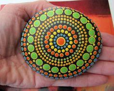 "Mandala ~ Energy ~ Meditation Stone Hand Painted River Rock ""MAXINE"" Dot Painting Chakras by WrenStones on Etsy"