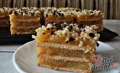Jablečné řezy nepečené | NejRecept.cz Czech Desserts, Vanilla Cake, Tiramisu, French Toast, Muffin, Food And Drink, Pie, Treats, Snacks