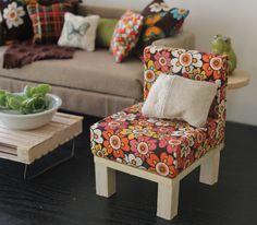 Barbie Chair Retro 1:6 Scale Natual Wood  Furniture Dollhouses (Blythe, 12'' Fashion dolls, Bratz, Momoko). $20.00, via Etsy.