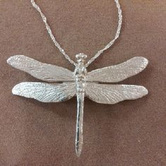 This #Dragonfly #pendant was lovingly #handcarved by #Tara Shelton and cast into #sterling silver. Price $275.00 CDN. See more of #artisan Tara Shelton's #jewelry #jewellery at #ArtisansAtWork/ #AAWGallery www.aawgallery.com and www.tarashelton.com Dragonfly Pendant, Sansa, Hand Carved, Insects, Artisan, Creatures, It Cast, Carving, Jewellery