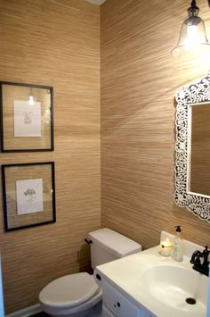 grasscloth wallpapered bathroom by bryn alexandra