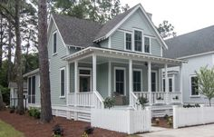 I like this look but a wrap around porch with columns Southern House Plans, Cottage House Plans, Southern Living, Craftsman Home Exterior, Exterior House Colors, Craftsman Houses, House Columns, House Plan With Loft, Coastal Cottage