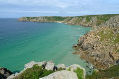 Porthcurno Beach view from Logan's Rock, Cornwall, England, UK