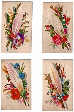These unused victorian calling cards were removed from a period scrapbook. With just some minor signs of age adding to their character, they are in great vintage condition, and feature lovely bouquets of bachelor buttons, poppy, rose, forget-me-nots, lilies of the valley, pansy, daisies, and mixed foliage with a white feather focal. I did some small repairs and brightening for you.
