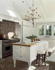 Luscious kitchens - mylusciouslife.com - white, tailored kitchen with brick