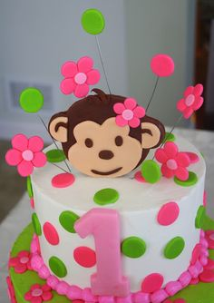 Image detail for -Claudine: Pink Mod Monkey Birthday. (But with a 2 for Halle) Monkey Birthday Cakes, Monkey Birthday Parties, Baby 1st Birthday, First Birthday Cakes, Monkey Cakes, 1st Birthday Pictures, Birthday Ideas, Girl Cakes, Cute Cakes