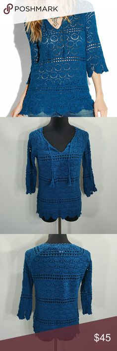 """LUCKY BRAND CROCHET SAPPHIRE TUNIC SIZE M This shirt has a v neck with tie detail and open stitching.   Length 22.5"""" Armpit to Armpit 17"""" 57% Cotton  43% Rayon  Machine Wash Cold Lucky Brand Tops Tunics"""