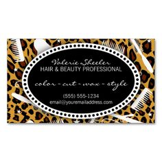Leopard Print Hair and Beauty Appointment Business Card Templates. This is a fully customizable business card and available on several paper types for your needs. You can upload your own image or use the image as is. Just click this template to get started!