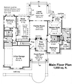 Craftsman Style House Plan - 3 Beds 3 Baths 1858 Sq/Ft Plan #51-523 Floor Plan - Main Floor Plan - Houseplans.com