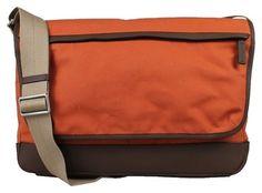 Coach Mens Canvas GUNMETAL / ORANGE / DARK BROWN Messenger Bag