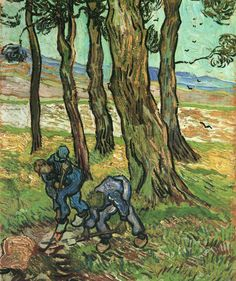 Vincent van Gogh (Dutch, Post-Impressionism, 1853-1890): Two Diggers Among Trees, November -December, 1889. Created in Saint-Rémy, France. Oil on canvas, 65.1 x 50.2 cm. Detroit Institute of Arts, Detroit, Michigan.