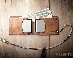 Men's Chain Wallet Mens Leather Chain Wallet Minimal by MrLentz