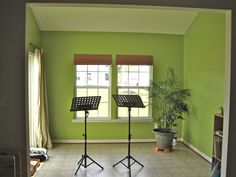 green and brown in the sunroom Behr Asparagus - green sunroom or morning room