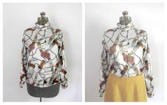 Vintage 1980s Scarf Blouse Long  Sleeves Draped by rileybella123, $25.00