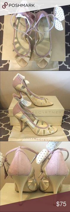 Stella McCartney Cream and Violet open toe pump Stella McCartney Cream and Violet open toe pump. Ankle strap included and can be removed. Size 8. Small amount of damage on heel (pictured). Box and shoe bag included. Very little wear on sole. Stella McCartney Shoes Heels