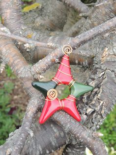Fused glass star ornament  Red & Green by fused4u on Etsy, $8.00