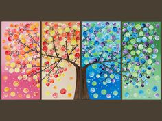 """Original Abstract Heavy Texture Impasto Acrylic Painting Landscape Tree Wall Decor """"365 Days of Happiness"""" Christmas in July"""