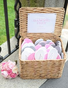 Clever ideas - give your guests' feet a break with complimentary flip flops at the reception! | http://weddingpartyapp.com/blog/2013/03/19/10-ways-to-be-the-coolest-bride-ever-from-your-future-bridesmaid-planning-humor-advice-etiquette-cool-laid-back-bridezilla/