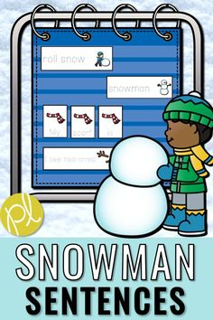 Early writers can read, build and write snowy sentences! Also included in this snowman sentence activity pack are five unscramble sentence sets, visual models, and themed paper. The snowman theme can be used all winter long! #snowmanwriting #snowmancenters