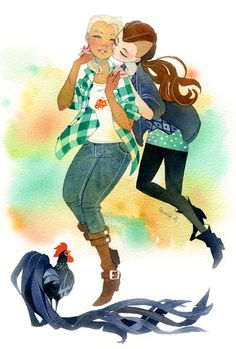 tir-ri (A kiss and a little rooster. <3 Painted with fine...)