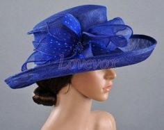 womens hats for ascot, derby and polo   Women's Kentucky Derby Hat, Outdoor Wedding Blue Hat Sun Hat Bridal ...