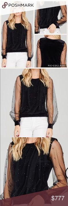 Available! Black Velvet Top Coming! Super cute top that you can dress up or down! Description: MESH OVERLAY VELVET TOP WITH FAUX PEARL TRIM ON MESH SLEEVE  Fabric: COTTON, POLYESTER Tops