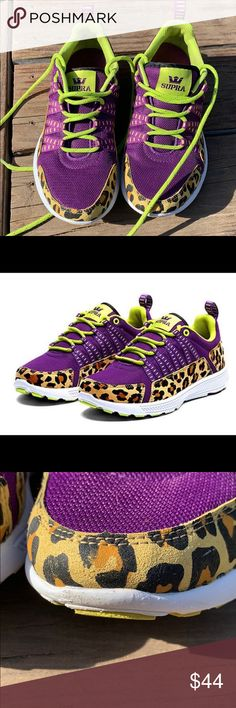 7d491f25ea50 Rate Supra Trainers Athletic shoe from Supra Footwear. Purple and leopard  print colorway. Mesh